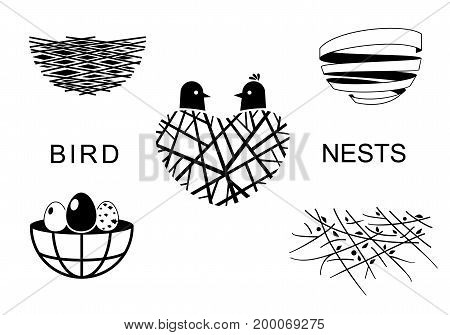 Set icons Bird's Nest for a emblem in the technique of sketching. Vector graphics. Two funny birds and eggs.