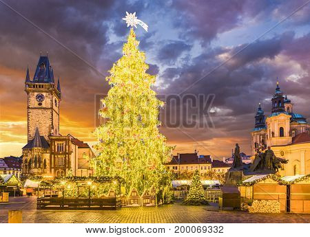 Christmas tree in magical city of Prague at night Czech Republic