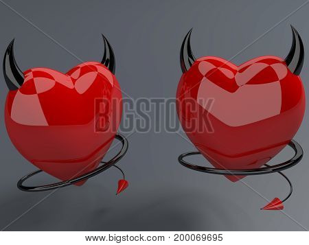Devil red hearts with horns and tails . 3D illustration