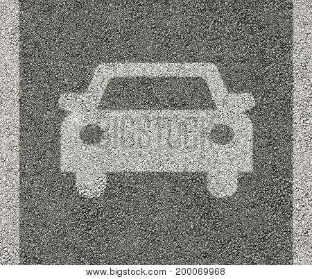 Car sign on asphalt in backgrounds .