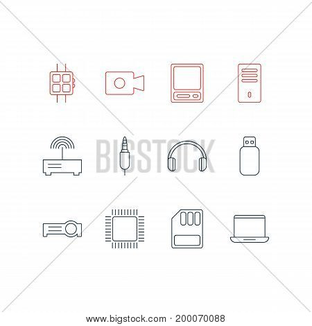 Editable Pack Of Storage, Headsets, Pda And Other Elements.  Vector Illustration Of 12 Notebook Icons.