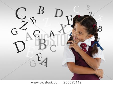 Digital composite of Many letters around Schoolgirl thinking in front of grey background