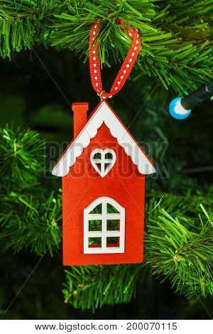 Christmas decoration on Christmas tree in backgrounds