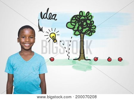 Digital composite of boy in front of colorful idea graphics