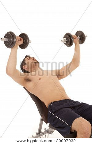 Man Bench Pressing