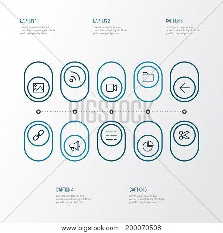 Interface Outline Icons Set. Collection Of Back, Folder, Feed And Other Elements
