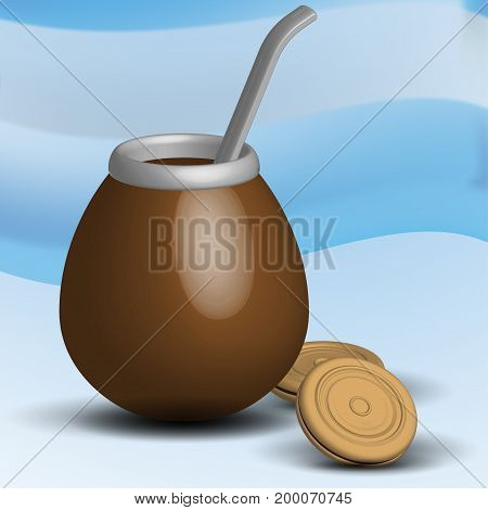 Mate traditional Argentina hot drink tea cookies