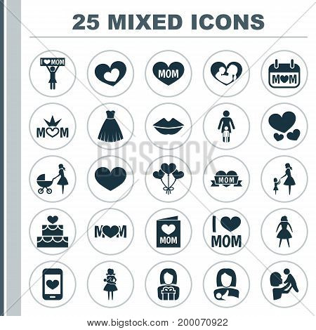 Mothers Day Icon Design Concept. Set Of 25 Such Elements As Mom, Soul And Pastry