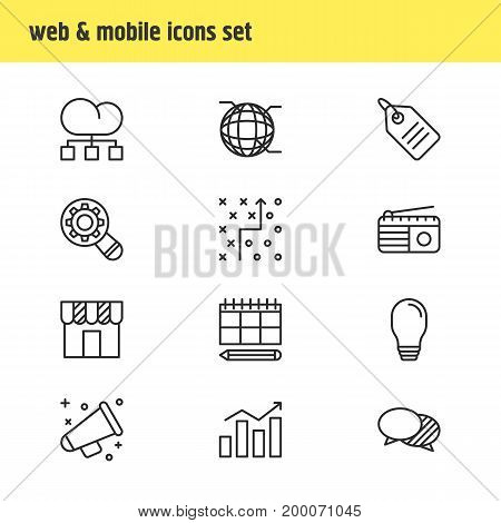 Editable Pack Of Announcement, Fm Broadcasting, Discussing And Other Elements.  Vector Illustration Of 12 Advertising Icons.