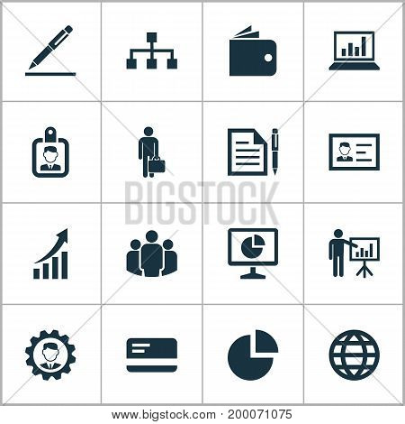 Trade Icons Set. Collection Of Id Badge, Hierarchy, Diagram And Other Elements