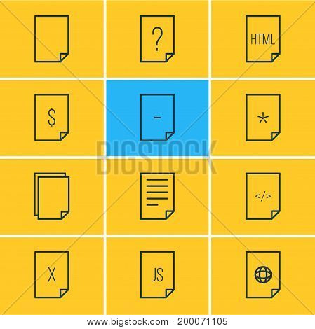 Editable Pack Of Internet, Document, Munus And Other Elements.  Vector Illustration Of 12 Page Icons.