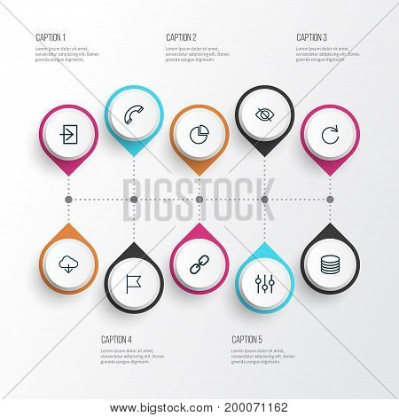 Interface Outline Icons Set. Collection Of Stabilizer, Hide, Call And Other Elements