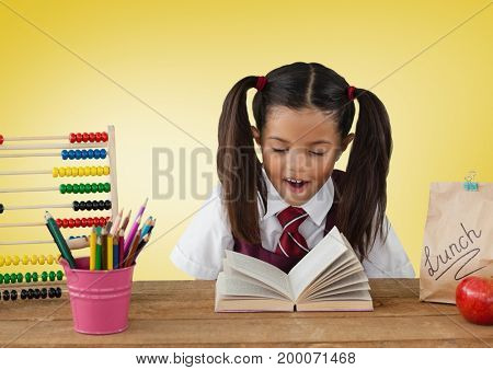 Digital composite of Schoolgirl at desk in front of yellow background with abacus and book