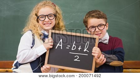 Digital composite of Children holding blackboard with math equation