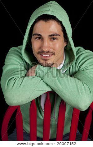 Man Green Hoodie Smile