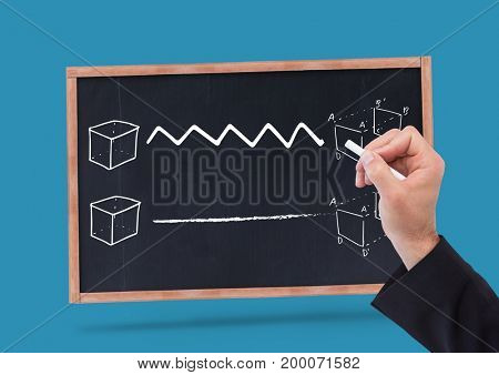 Digital composite of Hand drawing diagrams on blackboard