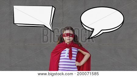 Digital composite of Girl as a super heroine with speech bubble standing against grey background