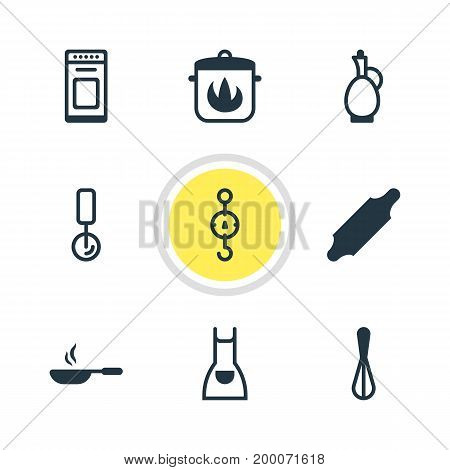 Editable Pack Of Round Slicer, Bakery Roller, Smock And Other Elements.  Vector Illustration Of 9 Cooking Icons.
