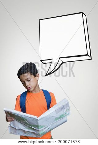 Digital composite of Student boy with speech bubble reading the newspaper against grey background