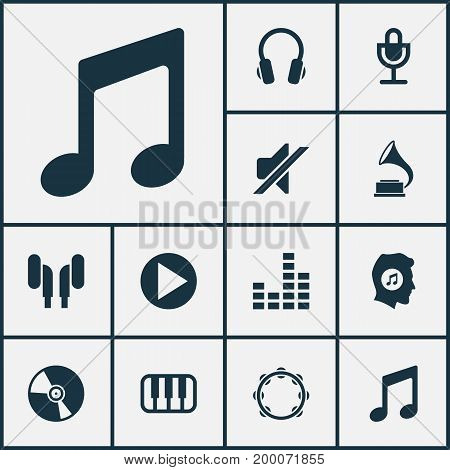 Music Icons Set. Collection Of Octave, Earphone, Music And Other Elements