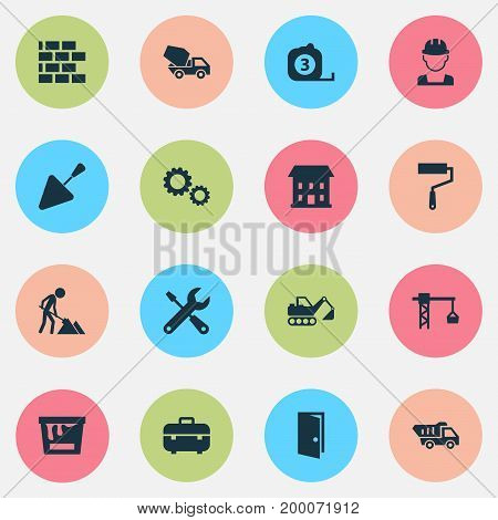 Industry Icons Set. Collection Of Spatula, Cogwheel, Wall And Other Elements
