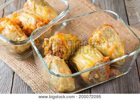 Stuffed pepper in a container. Take food with you