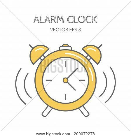 Yellow alarm clock on a white background. Line icon. Vector illustration. Linear style