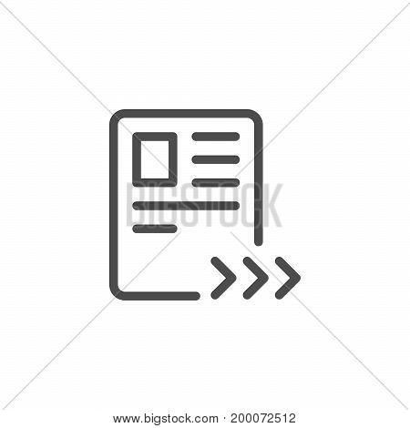 Sending document line icon isolated on white. Vector illustration