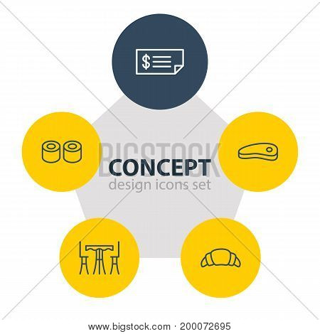 Editable Pack Of Japanese Roll, Table, Bacon And Other Elements.  Vector Illustration Of 5 Eating Icons.