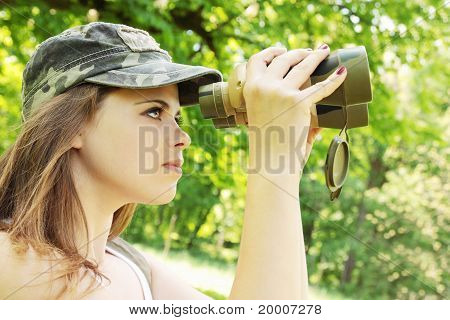Girl The Binoculars