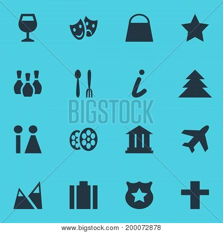 Editable Pack Of Cop, Aircraft, Toilet And Other Elements.  Vector Illustration Of 16 Travel Icons.