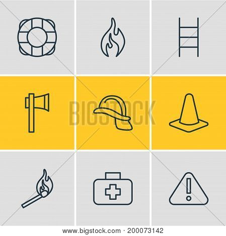 Editable Pack Of Stairs, Ax, Hardhat And Other Elements.  Vector Illustration Of 9 Necessity Icons.