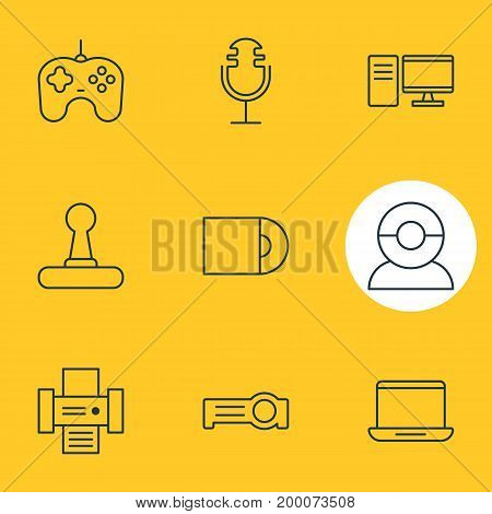 Editable Pack Of PC, Video Chat, Game Controller And Other Elements.  Vector Illustration Of 9 Accessory Icons.