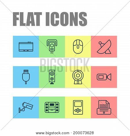 Gadget Icons Set. Collection Of Cctv, Broadcast, Printer And Other Elements