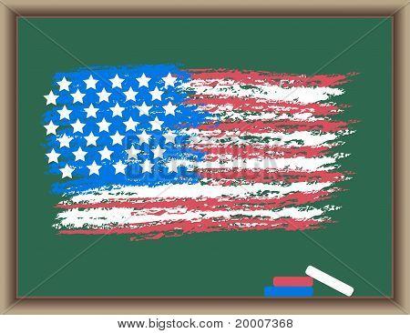 Flag Of Usa On A Blackboard