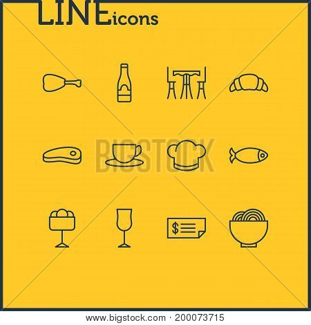 Editable Pack Of Hat, Account, Tea And Other Elements.  Vector Illustration Of 12 Cafe Icons.