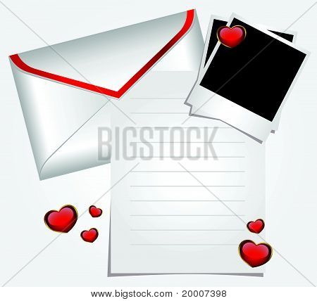 Envelope with blank photo frame and hearts