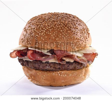 Prosciutto ham burger isolated on white background.