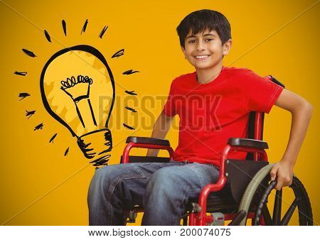 Digital composite of Disabled boy in wheelchair with light bulb