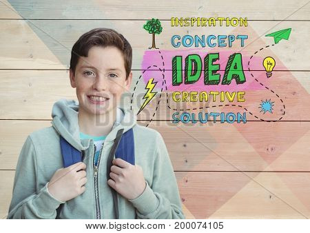 Digital composite of Student boy in front of colorful creative concept idea graphics