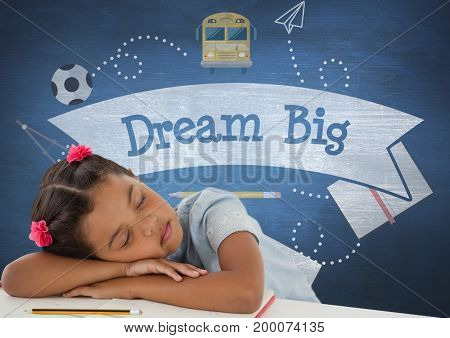 Digital composite of Student girl sleeping on a table against blue blackboard with dream big text and education and schoo