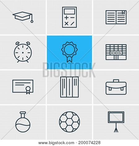 Editable Pack Of Portfolio, Textbook, Football And Other Elements.  Vector Illustration Of 12 Education Icons.