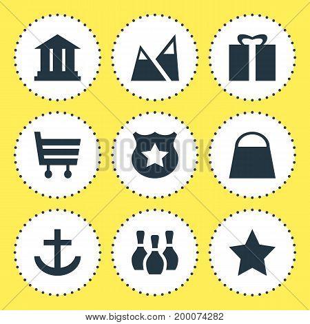 Editable Pack Of Anchor, Shopping Cart, Handbag Elements.  Vector Illustration Of 9 Travel Icons.