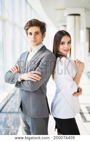 Confident Business Team Of Man And Woman Standing With Crossed Hands, Team Spirit Concept, Couple Of