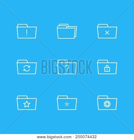 Editable Pack Of Important, Recovery, Significant And Other Elements.  Vector Illustration Of 9 Dossier Icons.