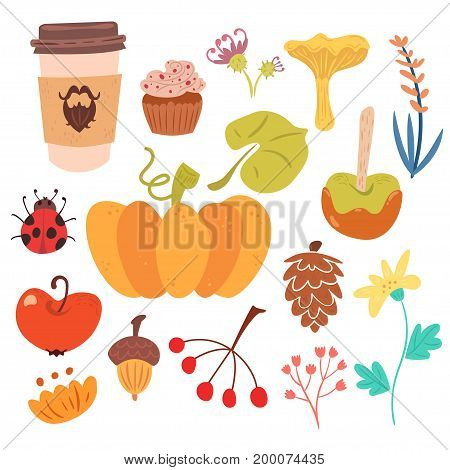 Set of sutumn harvest and sweet food. Cute flat illustration isolated on white background.