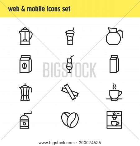 Editable Pack Of Decanter, Mocha, Coffeemaker And Other Elements.  Vector Illustration Of 12 Coffee Icons.