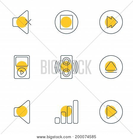 Editable Pack Of Acoustic, Start, Pause And Other Elements.  Vector Illustration Of 9 Melody Icons.