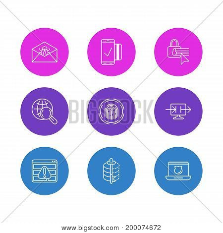 Editable Pack Of Finger Identifier, Browser Warning, Easy Payment And Other Elements.  Vector Illustration Of 9 Protection Icons.