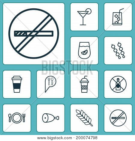 Eating Icons Set. Collection Of Cocktail, Fried Poultry, Lemon Juice And Other Elements
